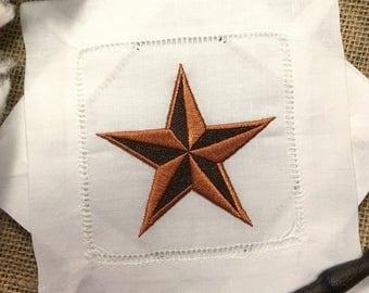 Embroidered Cocktail Napkins Set of 4 Rustic Texas Barn Star. Farmhouse Decor. Rusted Star. Bar Cart Decor. Wedding Gift. Hostess Gift.