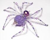 Alexa - purple and white glass beaded spider goth sun catcher - Halloween decoration - Christmas ornament