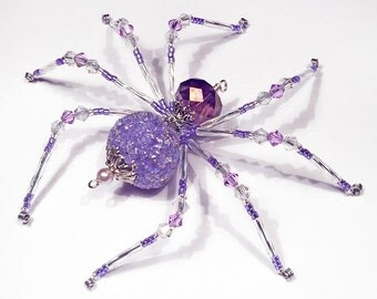 Alexa - purple and white glass beaded spider goth sun catcher - Halloween decoration - Christmas ornament