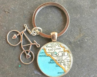 Bicycle Charm Custom  Keychain Maps Silver Vintage Atlas Your City Choice Gift for Cyclist or Traveler Gift