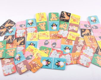Baby Dominoes, Game, Cards, Animals, Matching, Preschool, Memory, First Words, Craft Supplies, 1980s Animals ~ The Pink Room ~ 170127