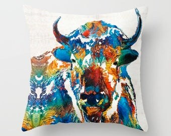 Throw Pillow Colorful COVER Wild Buffalo Sacred Art Design Home Sofa Bed Chair Couch Decor Southwestern Rustic Living Room Bedroom Animal