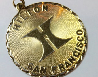 SJK Vintage -- Hilton San Francisco, Union Square Hotel and Tower 1971 Souvenir Charm or Pendant, CREA 12k Gold Filled Disc (1970's)