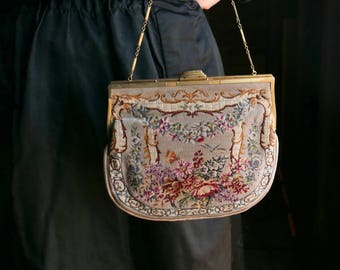 Petit Point Tapestry Purse with Sterling Frame