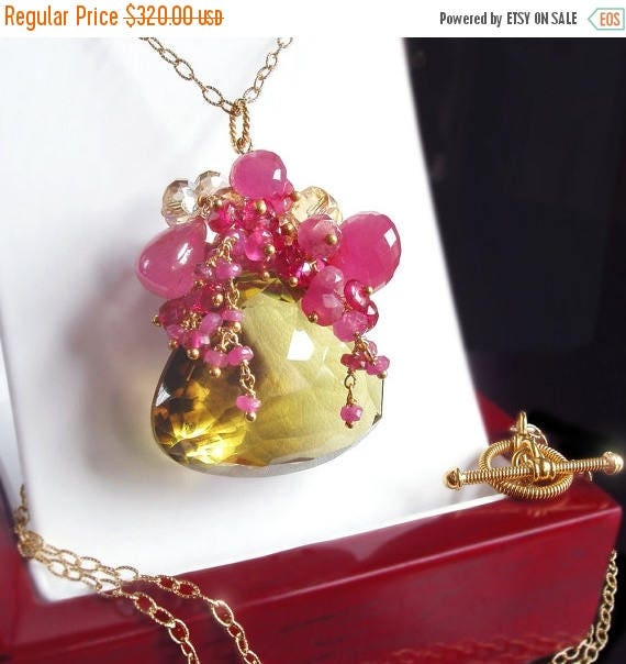 ON SALE - Custom Made to Order- Hot Pink Sapphire and Bi-Color Quartz Necklace with Citrine and Hot Pink Tourmaline