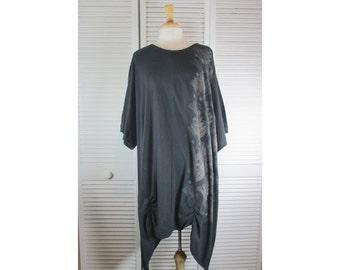 Gathering Tunic Top - Black Organic Cotton Knit w/ Art Nouveau 4X Ready to Ship