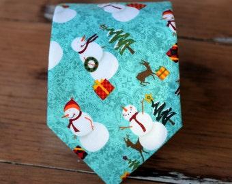 Boys Snowman Necktie - boys winter snowmen Christmas neck tie - infant baby toddler child preteen boy necktie - boys holiday necktie - gift