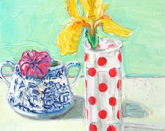 Highball Iris original mixed media acrylic still life painting