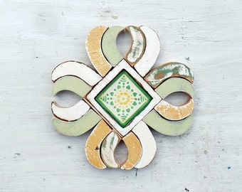 Reclaimed Wood Mosaic Art, Boho Decor, Rustic Wall Decor, Primitive Folk Art Mosaic, Wood Wall Art, Kitchen Decor Mint Green Decor