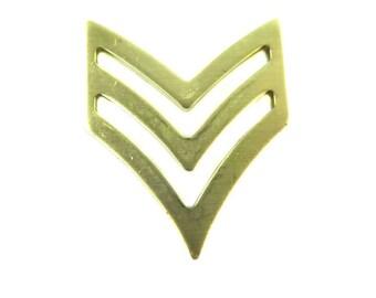 Brass Military Chevron Pendants (4X) (M511-A)