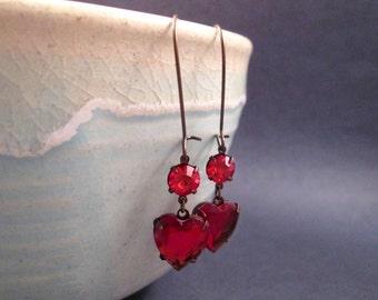 Rhinestone Heart Earrings, Ruby Red Glass Hearts, Vintage Brass, Long Dangle Earrings, FREE Shipping U.S.