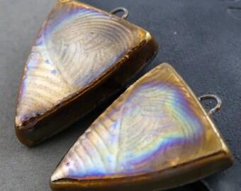 Boho Tribal Raku Shield Earrings