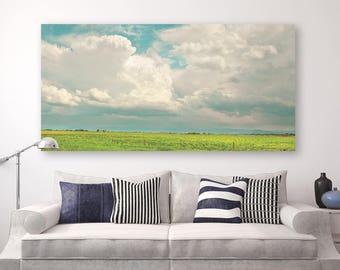 "landscape, canvas wall art, fine art photograph, nature photography, large canvas wall art, modern colorful - ""Gallatin County Storm Clouds"""