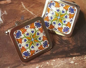 Spanish Sunburst Tile Cufflinks