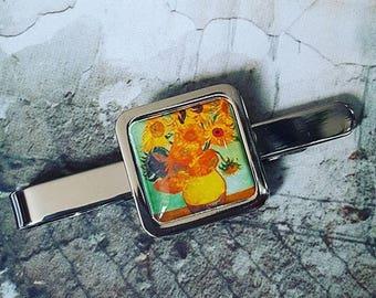 Van Gogh Sunflowers Tie Clip