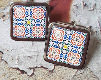 Geranium Spanish Tile Cufflinks