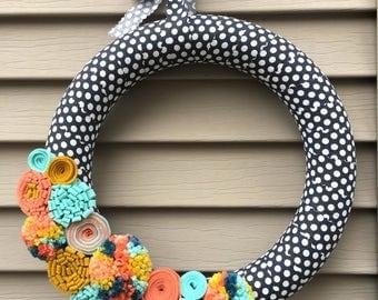 Spring Wreath - Easter Wreath - Pom Pom Wreath - Felt Flower Wreath - Spring Decor - Spring Felt Wreath - Felt Wreath - Polka Dot Wreath