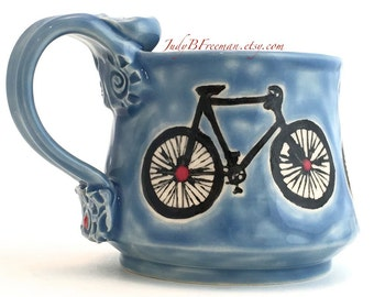 Ceramic Stoneware Bicycle Mug Handmade on Sky Blue with Red Dots Ready to Ship 10 Ounces MG0060