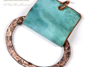 Reserve for Des - Hand Forged Rustic Copper Bail - Pendant Component - DIY jewelry making components JC725