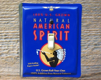 American Spirit Indian Southwestern Decor Light Switch Cover Switchplate Single Switch Plate Made From An Old Tobacco Tin SP-0241B