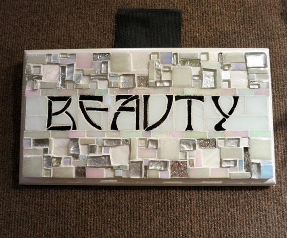 Beauty Sign in Pearlescent White Arts and Crafts Style