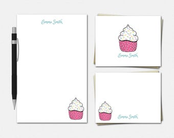 Cupcake Stationery Set - Cupcake Stationery - Stationary for Girls - Personalized Cupcake Stationery Set