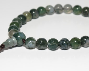 Moss Agate 27 Bead Wrist Mala, Buddhist Japa Mala, Juzu Beads, 8mm, Short Mala, Heart Chakra, 4th Chakra, Prayer Beads, Green, Mens Mala