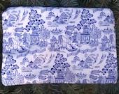 Asian zip bag, makeup bag, zippered bag, Blue Willow, The Scooter