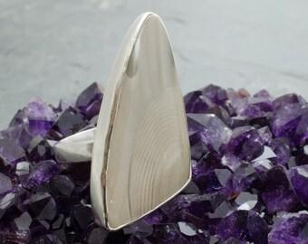 Polish Flint Ring. Sheild Ring. Banded Flint. Size 7 Ring. Gemstone Ring. Flint Gemstone. Triangle Cabochon. Statement Ring