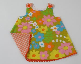 Vintage Daisy Floral Girls Dress, Toddler Dress, Baby Dress, Girls Dresses, Girls Pinafore, Sundress, Size 3 - 6 Months, 12 - 18 Months