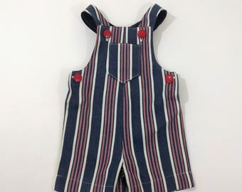 Toddler Boys, Toddler Girls, Red, White & Blue Denim Jon Jon Romper Shorts Overalls, 4th of July outfit, Boys Clothing, Girls Clothing, 2T