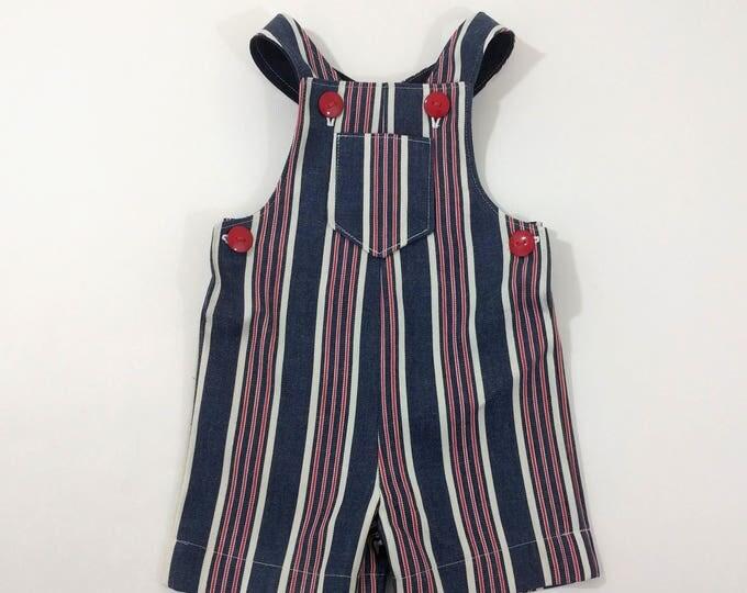 Toddler Boys, Toddler Girls, Red, White & Blue Denim Jon Jon Romper Shorts Overalls, 4th of July outfit, Boys Clothing, Girls Clothing, 2T