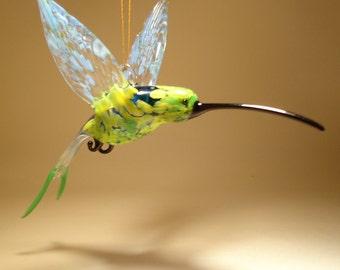Blown Glass Figurine Bird Hanging Swallow Tail Green, Blue and Yellow HUMMINGBIRD Ornament