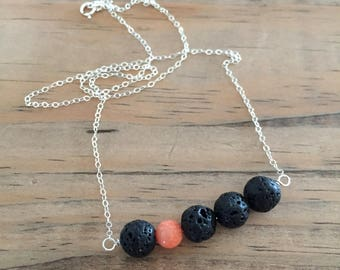 lava bead diffuser necklace for essential oils with coral bead - sterling silver