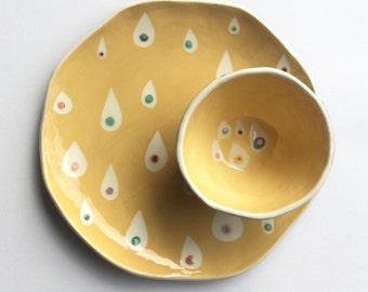 Maize Yellow Raindrops Plate- handmade ceramic plate