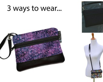 Cell Phone Purse - Fanny Pack or Wristlet - Cell phone Cross body Bag - Small Cross body Purse - Long Zip Phone Bag- Plum Perfect Fabric