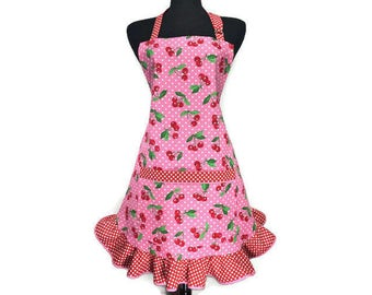 Retro Cherry Apron for women , White and pink Polka Dot with Retro Style ruffle , Pin up Girl Kitchen Decor , Frilly / Sexy