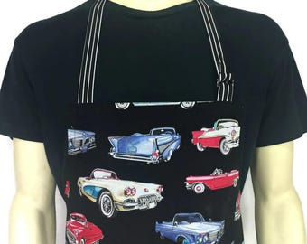 Classic Car Apron , Professional Chef Style / Adjustable with Pocket , Hot Rods on Black , Garage Kitchen Decor