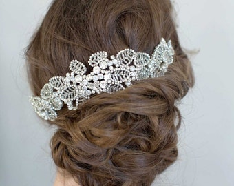 Bridal hair pins - Crystal leaf cluster headpiece - Style 778 - Made to Order