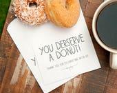 Donut Favor Bag  - Wedding Food - Donut Bar, Buffet - Wax Lined - Birthday, Shower, Party, Graduation - 20 White Doughnut Bags & Stickers