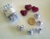 Sale Destash pretty pink hand painted foil glass heart beads, small heart beads, pink beads, glass heart beads