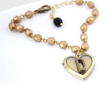 Heart Locket Bracelet - Personalized Initial Bracelet with Heart Charm Love Locket