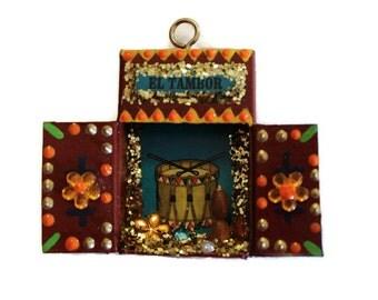 Mexican Loteria, Mexican Nicho, Matchbook Nicho, Mexican Ornament, Loteria Matchbox, Mexican Diorama, Mexican Christmas Ornament, El Tambor