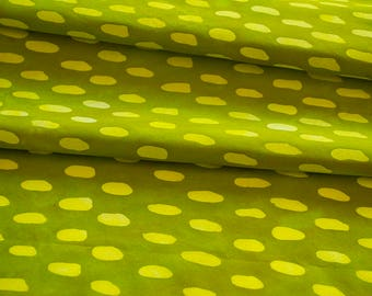 Jumping Bean Hand Dyed and Patterned Cotton Fabric in Yellow and Chartreuse