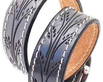 Gunmetal Gray Leather Dog Collar with Tooled Wheat Pattern, Size M-L, to fit a 16-20 Neck, Medium to Large Dog, EcoFriendly, OOAK