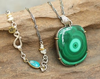 Rectangle malachite necklace in silver bezel and brass prongs setting with turquoise secondary gemstone  and sterling silver oxidized chain