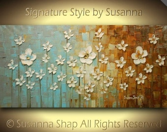 ORIGINAL Contemporary Landscape Art White Flowers Painting Textured Modern Brown Blue Oil Painting by Susanna Ready to Hang 48x24