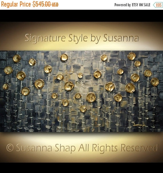ORIGINAL navy blue gray gold abstract painting on canvas , fine art textured circles squares trees modern palette knife art by susanna 48x24