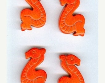 CLEARANCE Set 4 Bright Orange Howlite Sea Dragon Beads Dyed