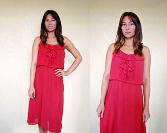 red RUFFLE BODICE sundress (small to medium)
